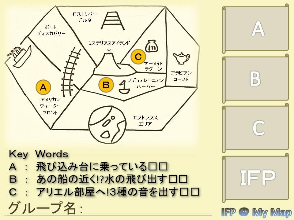 四角の部分(下側)にキーワードを入れて、各ミッションの回答となるフォトスポットで撮影した写真を右側の台紙(右側)に貼り付けることで各グループのオリジナルマップになります。